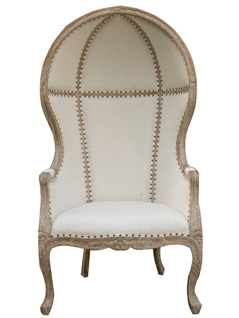 Bella Chateau French Carved Dome Chair in Grey Wash - $1320