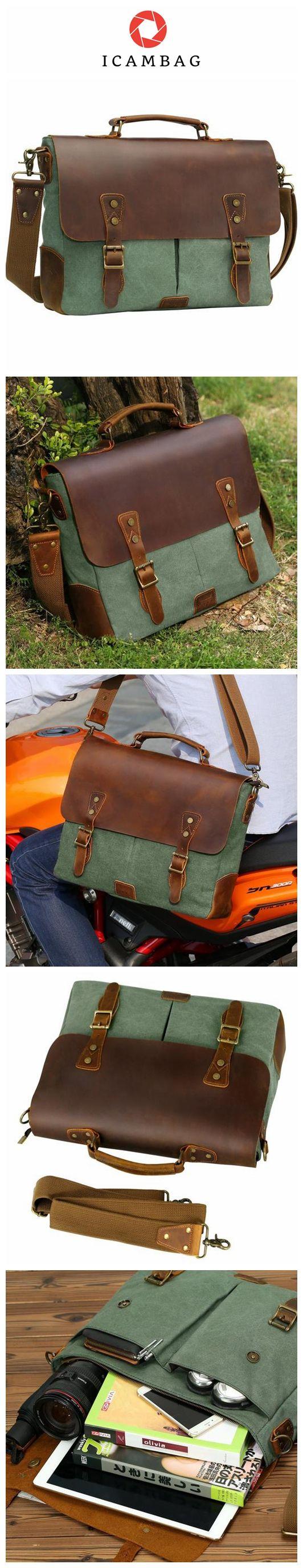 Leather Vintage Messenger Bag for 15.6 inch laptops,Satchel Briefcase Bag for Men and Women Green