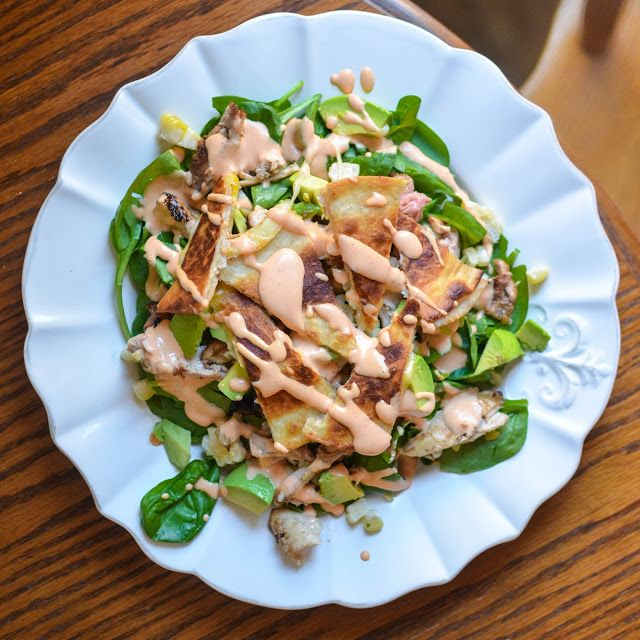 southwetern sriracha chicken salad (with mini cheese quesadillas!)