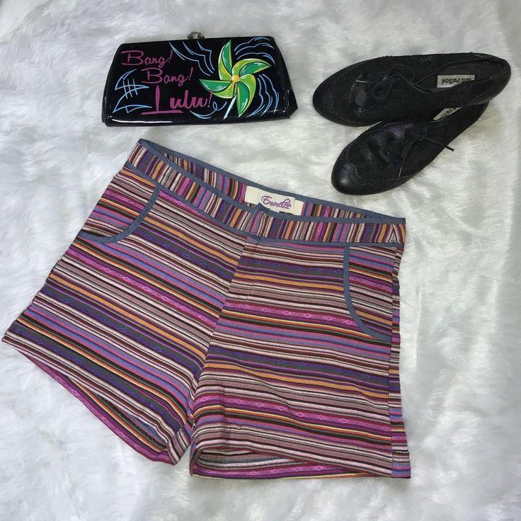 Emmelee Andes Striped Multicolor Print High Waist Shorts Festival SZ 4  | eBay