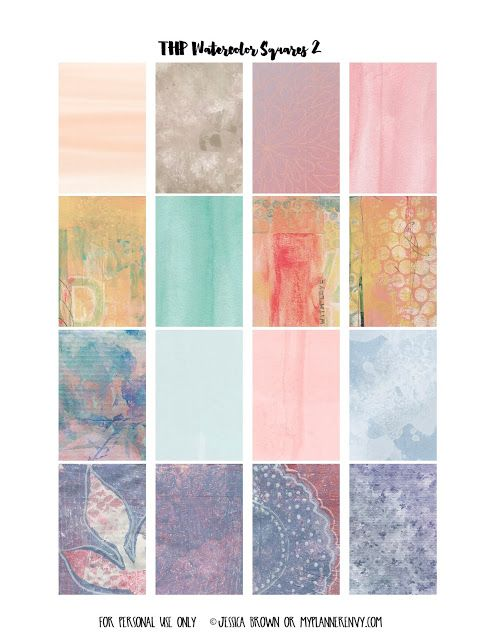 My Planner Envy: Watercolor 2 Weekly Squares - Free Planner Printable