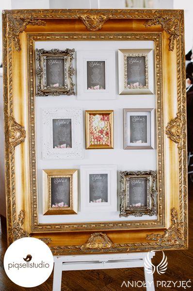 Glamour Wedding,Table plan,Frames,Stationery,Black stationery / Wesele glamou,Tablica z rozsadzeniem gości,Ramki,Papeteria ślubna,Anioły Przyjęć