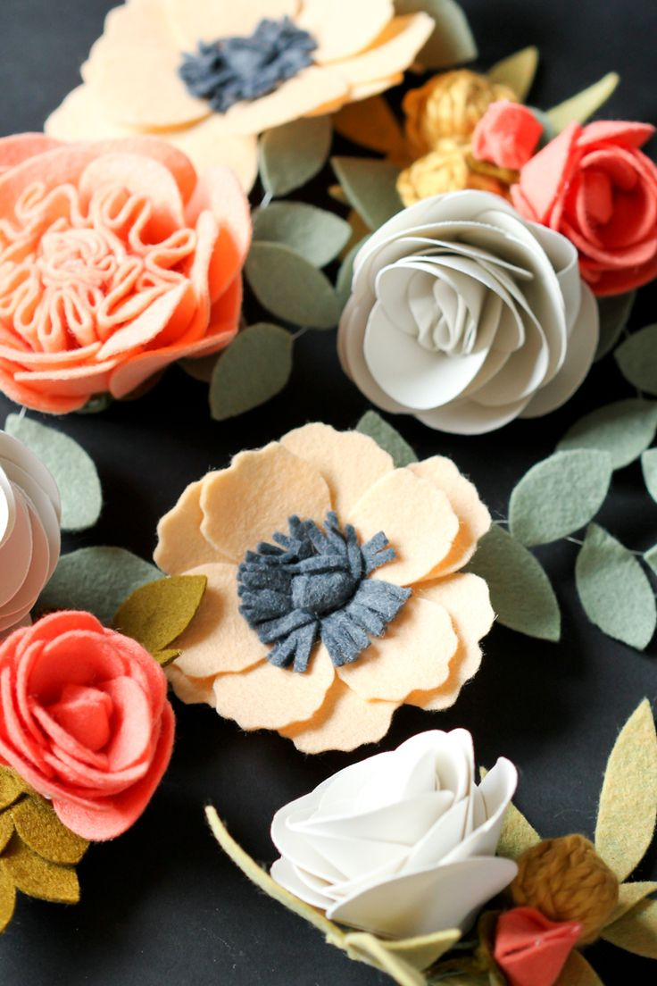 DIY Felt Flower Tutorial with step by step instructions and material sources for pretty felt flowers