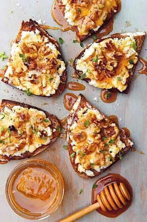 Goat Cheese Toasts with Walnuts, Honey, Thyme