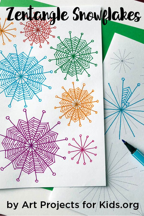 Zentangle Art Snowflakes - Art Projects for Kids