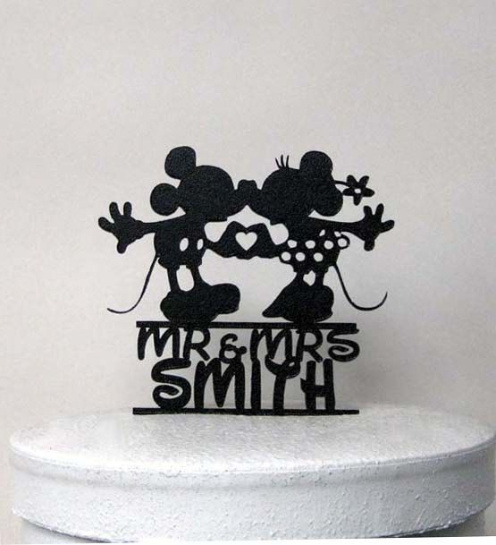 This Custom Mickey and Minni Wedding Cake topper comes with Personalized Mr & Mrs name in Disney font Size; appx. 5.5W x6.5H Topper is