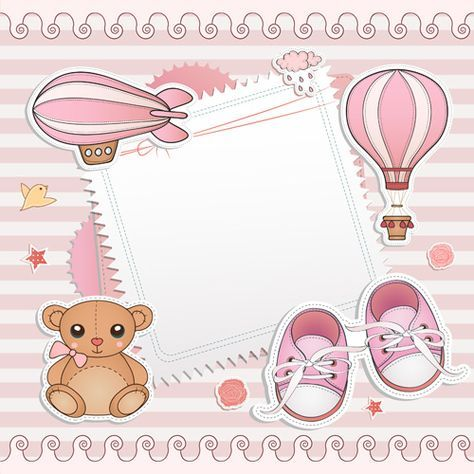 Blank paper with baby card vector 02