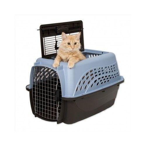 Plastic Pet Carrier Cat Transport Box Kitten Small Dog Travel Comfort 2 Doors #Petmate