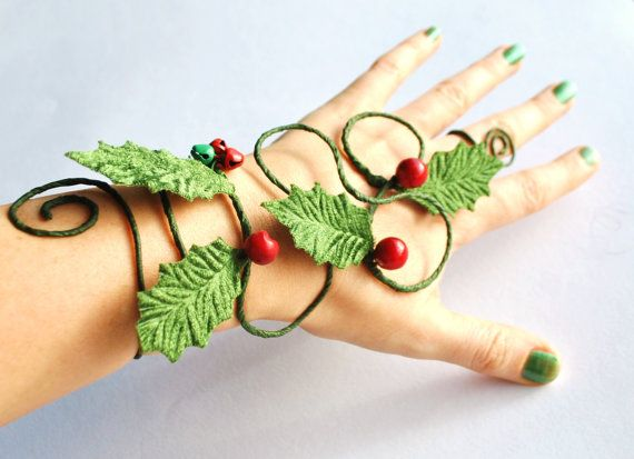 Fun festive Holly and vine with berries hand cuff slave bracelet Christmas Elf costume or Mrs Christmas
