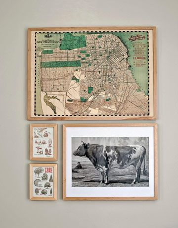 With a little imagination, and a few inexpensive frames, you can transform anything — postcards, wrapping paper, place mats — into a masterpiece.