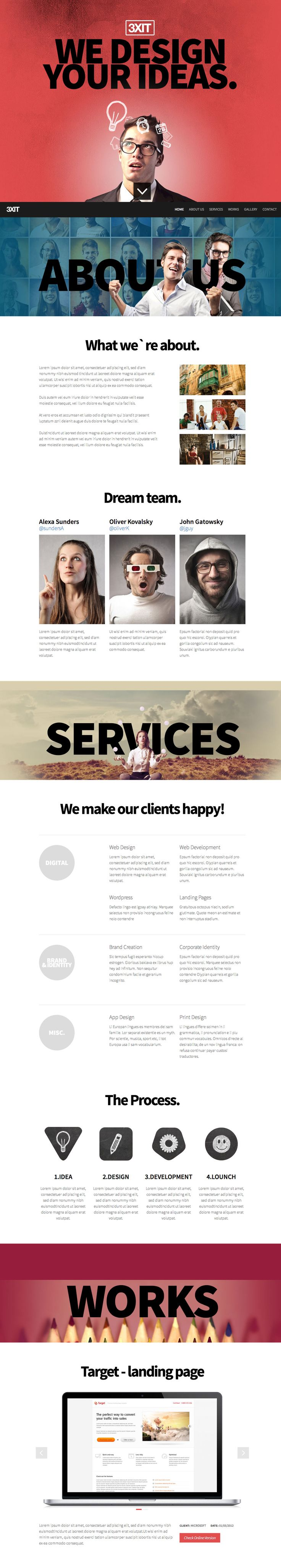 'Exit' is a $13 HTML template aimed at agencies and design firms. It makes use of big bold text which makes an impact but the overall feel is still kept quite light. The main feature are windows of parallax scrolling which is used sparingly enough to not turn it into a gimmick. The template also includes an option to use a video background. Nice touch with the gallery section against the brick wall background.