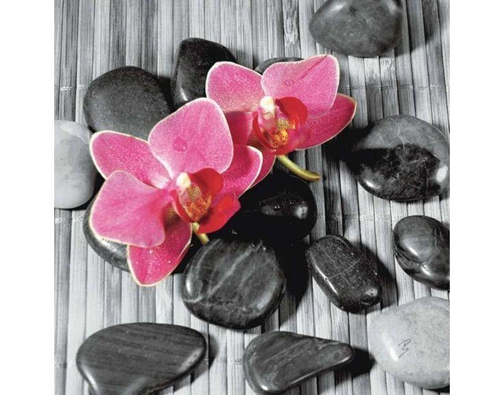Glasbild Asiatische Komposition Orchideen Blumen Foto Artland