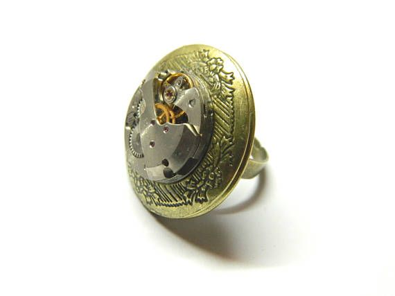 Steampunk locket ring engagement jewelry hold two round