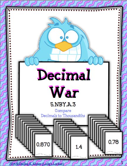 $Comparing decimals is more fun with Decimal War. This set of 26 decimal cards is played like a game of war.  Students compare decimals to thousandths as they enjoy a fast paced game.  Duplicate on card stock or laminate for extra durability.  Decimal War is also a great addition to a math center.  Your students will enjoy this activity as much as mine do!  Common Core: 5.NBT.A.3