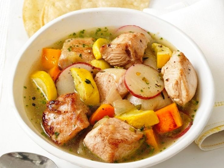 Mexican Turkey and Squash Stew : This recipe bridges the seasons by teaming up winter and summer squash in one colorful bowl. Turkey breast adds a hit of protein while a bright hit of salsa verde and tortillas on the side give the dinner a Mexican accent.