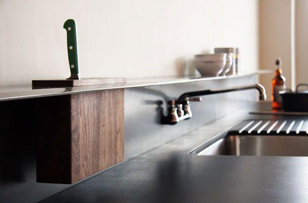 Knife rack built into shelf.