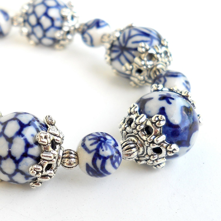 Delft blue bracelet with hand painted beads...beautiful!!