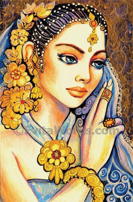 beautiful Indian woman art divine feminine Indian bride art print Indian decor wall decor affordable art gifts artprint giclee 4x6 7x10.5