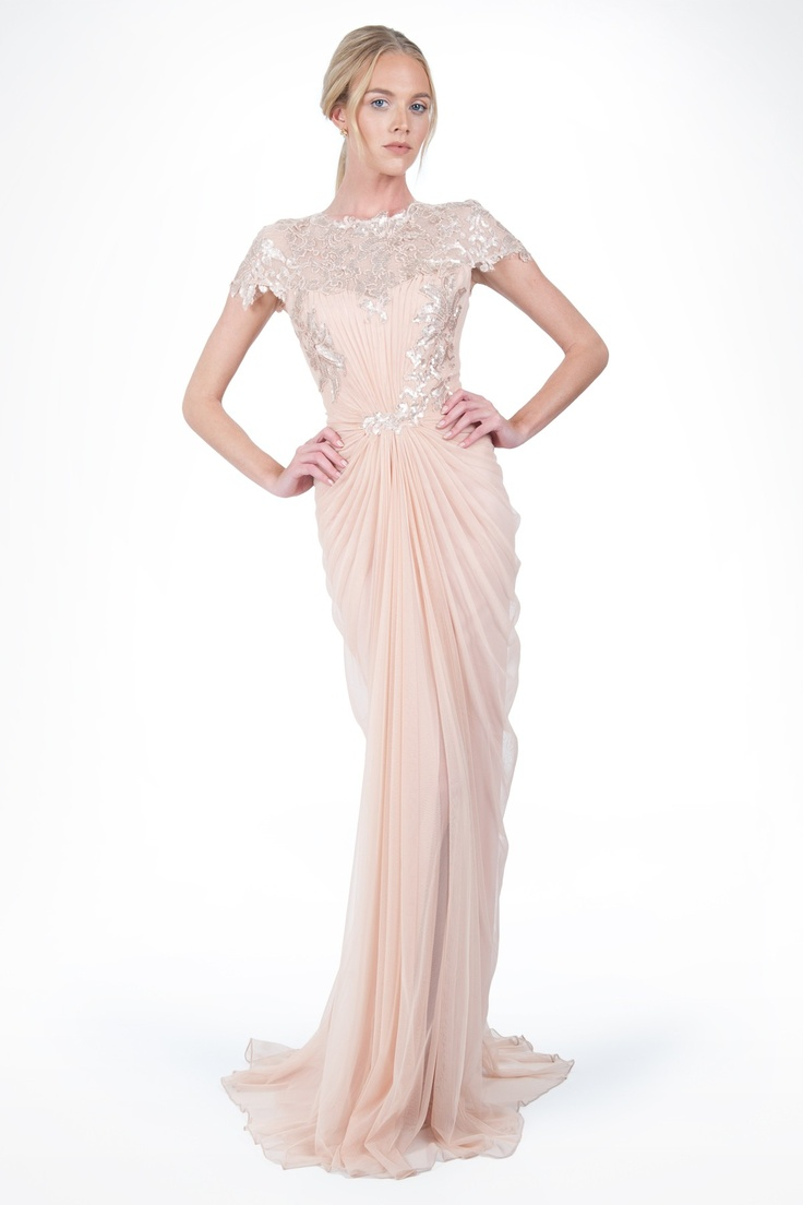 Get ready for spring in the lovely light pink of our Paillette Lace and Tulle Gown in Primrose | Tadashi Shoji