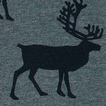 Stretch+jersey+blå+melange+med+hjorte