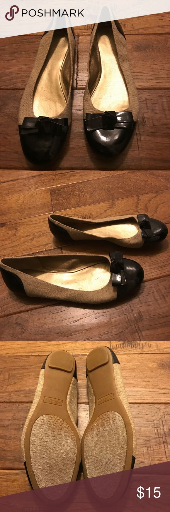 Joan & David Canvas Tan & Black Ballet Flats |  8 Joan & David Canvas Ballet Flats Size 8. Great Condition. Joan & David Shoes Flats & Loafers