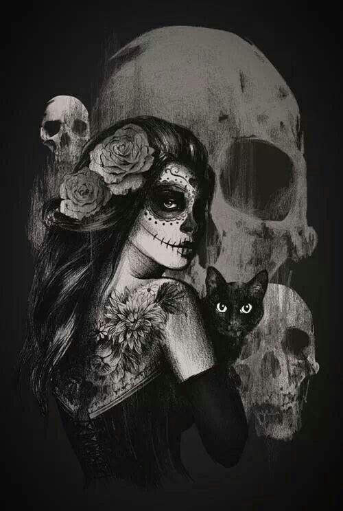 Dia de los Muertos girl with black cat.