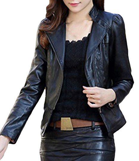 BELLA-Giacca in Pelle Donna Moto Cappotto Blazer Cerniera Autunno e Primavera Nero Petto 98cm