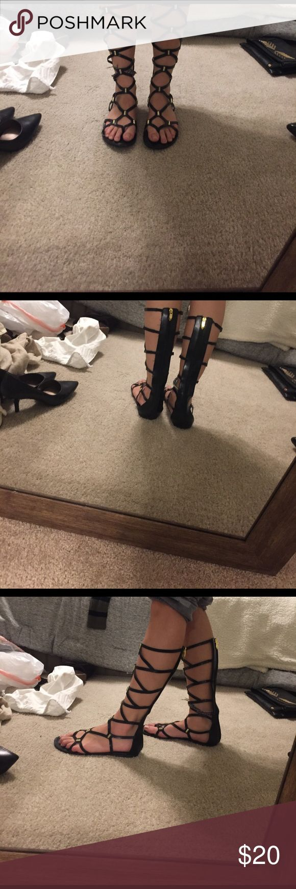 Black and gold Black and gold Fergie Shoes Sandals