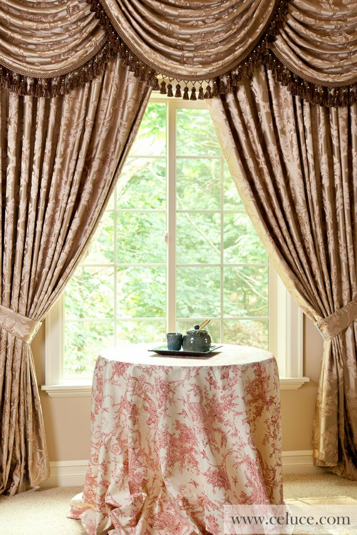 Baroque Floral Classic Overlapping Swag Valance Curtains Champagne Color Brocade Satin Valance