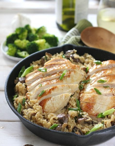 One Pan Chicken and Rice!  Easy on the cook and the whole family will love it!