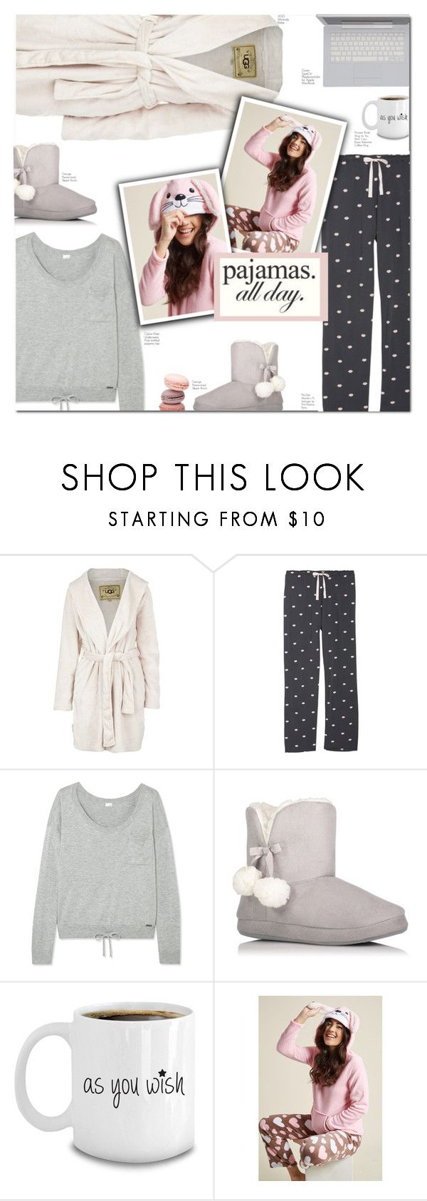 """""""pajamas all day :)"""" by jadeisback ❤ liked on Polyvore featuring UGG Australia, P.J. Salvage, Calvin Klein Underwear, George, LovelyLoungewear and plus size clothing"""