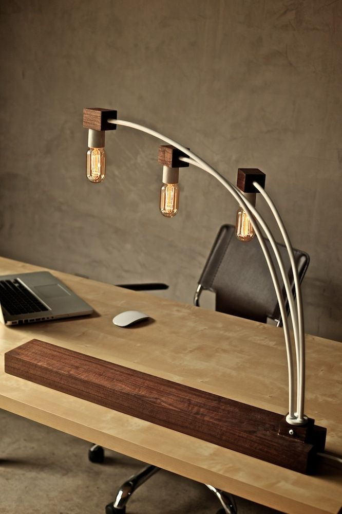 I would love this on my desk. Dark wood and Edison bulbs. Yes.