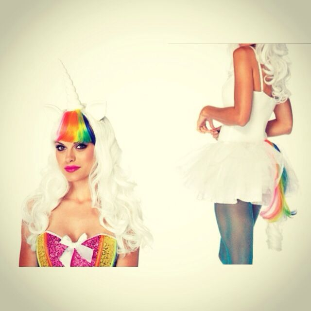 Totally obsessed with our rainbow unicorn wig with little ears, a horn & matching rail. The hair is so silky!