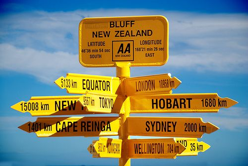 Bluff , the end of the earth, sign post, New Zealand
