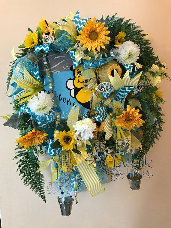 Coupon code CIJ2017 to get free shipping. Summer Wreath Sunflower Wreath Welcome Wreath