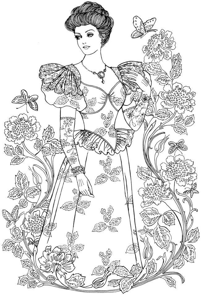 creative haven art nouveau fashions coloring book - Fashion Coloring Pages 2