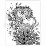 Mehndi Henna Peacock Coloring Page