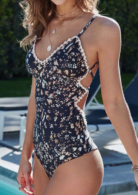 Floral Splicing Swimsuit without Necklace - Fairyseason