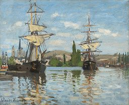 Claude Monet - Ships Riding on the Seine at Rouen - 1872/1873 - Painting