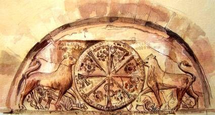 La cruz bautismal tiene ocho brazos por ser la superposición de una cruz de San Andrés y una cruz griega. Simboliza el sacramento del Bautismo por que el número ocho significa renacimiento. (Crismón de la Catedral de Jaca pintado por el peregrino Antón Hurtado)