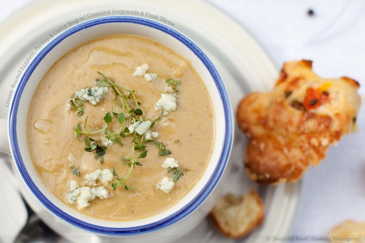 Creamy Roasted Eggplant, Parsnip and Carrot Soup with Crumbled ...