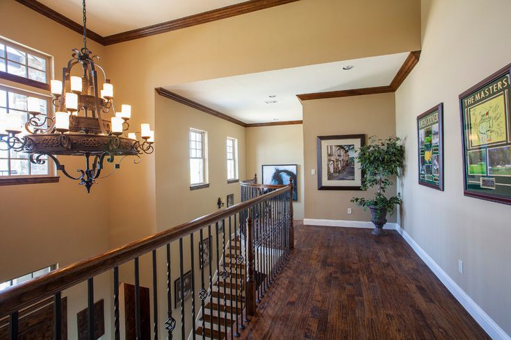 Stained Crown Molding Hall Rustic With Baseboard Trim