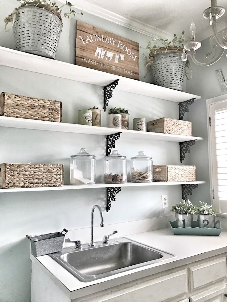 Bless This Nest – Laundry Room Makeover. Shelves in laundry room