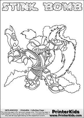 Skylanders Swap Force - STINK BOMB - Coloring Page 2 ...