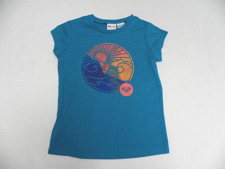 Roxy Kids 5T Medium T-Shirts Mountain And Wave B Turquoise Sunrise Circle # Roxy