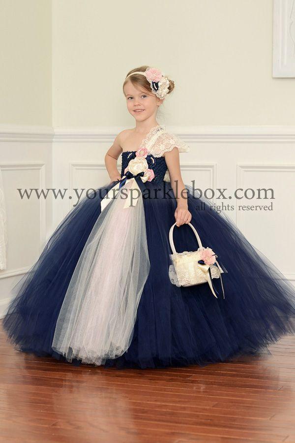 Navy, Pink and Ivory Vintage Tutu Dress