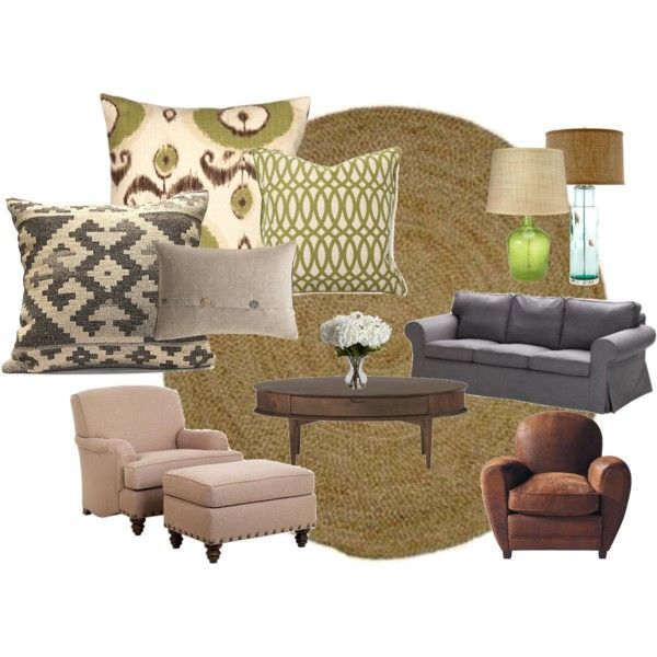 Living Room- Green/Neutrals, created by samantha-tyne
