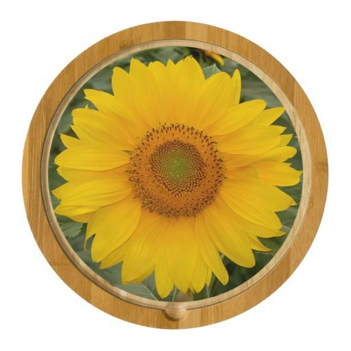 Golden Yellow Sunflower Round Cheese Board a perfect hostess gift or a sunny and useful thought for anyone on your list.