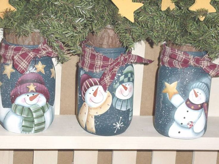 cute snowman jars @lindajalio