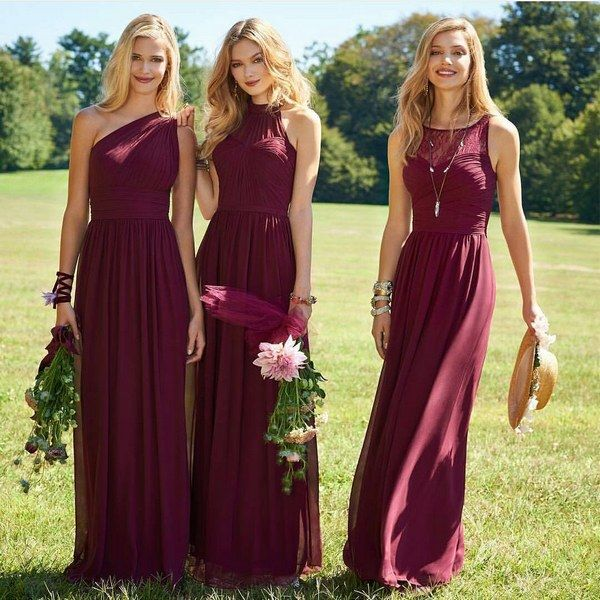 mix and mactched burgundy bridesmaid dresses